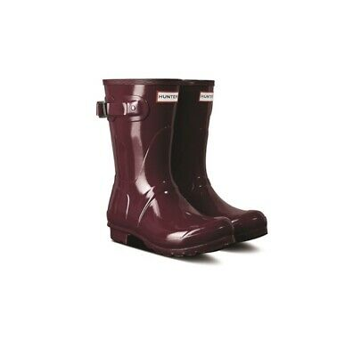 Women's Authentic Short Hunter Wellies, Gloss, Red Algae, Size 3, RRP £90 • 50£