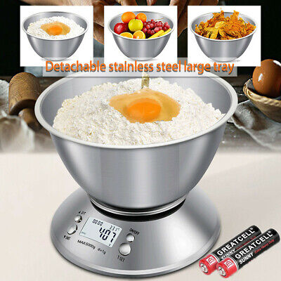 5kg Electronic Digital Stainless Steel Mixing Bowl Food Weighting Kitchen Scales • 13.99£
