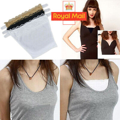 3 Pcs Cami Secret Clip On Mock Camisole Modesty Panel Women White Black Beige UK • 1.19£