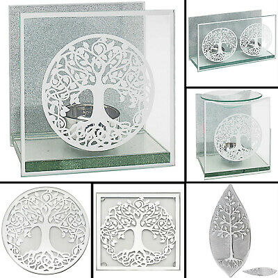 Mirror Tree Of Life Silver Tea Light Candle Holders Home Centerpieces Oil Burner • 8.95£