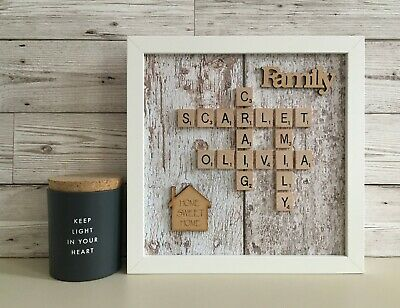 (a) Scrabble Art Picture Box Frame Personalised - White & Brown Distresed • 26£