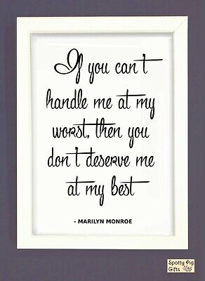 Print Marilyn Monroe Quote Wall Art Framed Picture Poster Film Icon If You Cant • 9.95£