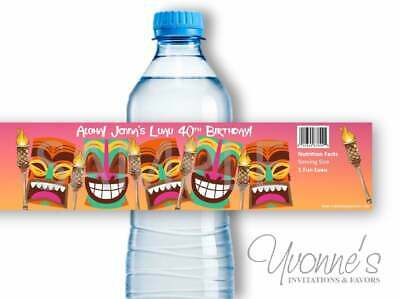 Luau Water Bottle Wrappers - Tiki Birthday Party Favors - Set Of 12  • 8.96£