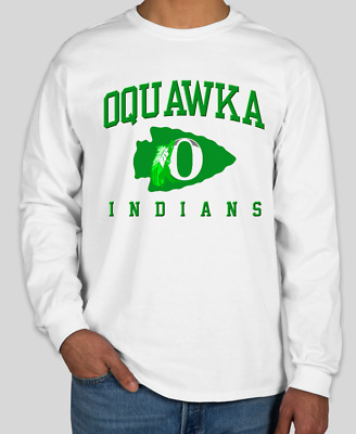 $ CDN52.48 • Buy OQUAWKA INDIANS High School White Gildan Long Sleeve T-Shirt BRAND NEW!!