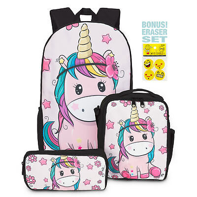 AU44.97 • Buy Perpetual Parenting - Unicorn Backpack With Insulated Lunch Bag & Pencil Case