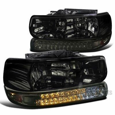 $123.98 • Buy For 1999-2002 Silverado 1500 / 2000-2006 Tahoe Smoke Headlights LED Bumper Lamps