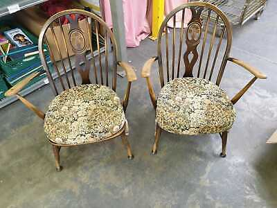 Ercol Mid Century Windsor Fleur Delys Armchairs X 2 Used Good Condition (hc) • 49.99£