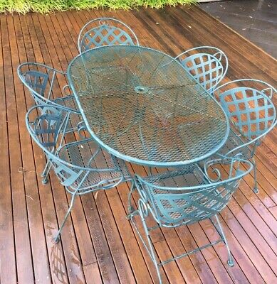 AU260 • Buy 7 Piece Metal Outdoor Setting - Table & Chairs - Used. Pick Up Only Mt Waverley