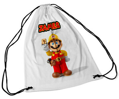 Personalised Drawstring Bag Any Name Super Mario Swimming School Nursery PE 44 • 7.49£