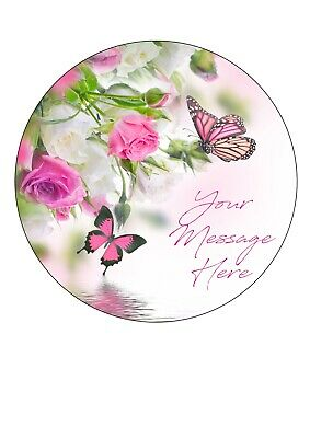 Edible Icing Sheet PERSONALISED Pink Rose & Butterfly 7-8  Circle Cake Topper • 3.49£