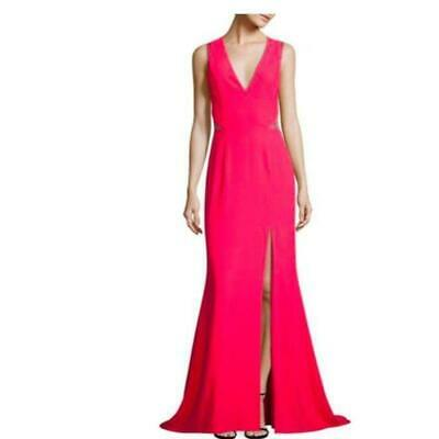 $74.99 • Buy NWT Aidan Mattox Sz 2 Formal Gown Crepe & Lace Pink Full Length Dress Side Slit