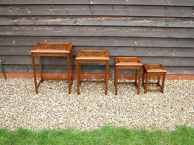 Nest Of 4 Chinese Wood Carved Tables With Inlaid Glass Top And Single Drawer  • 195£