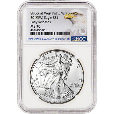 $18.50 • Buy 2019-(W) American Silver Eagle - NGC MS70 - Early Releases - Grade 70