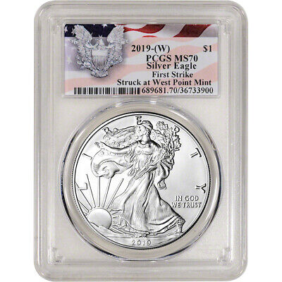 $21.54 • Buy 2019-(W) American Silver Eagle - PCGS MS70 - First Strike Red Flag Label