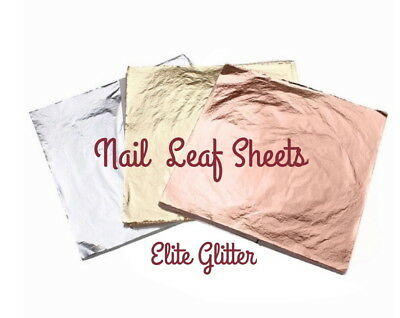 Nail Art Decoration 3pc Foil Leaf Sheets Rose Gold Silver Gilding Craft Supplies • 2.99£