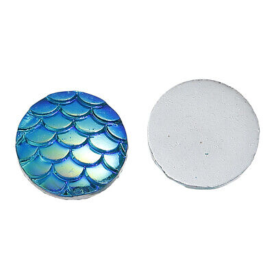 50 Blue Green Mermaid Dragon Scales Resin Cabochons Flat Back 12mm (072C) • 0.99£