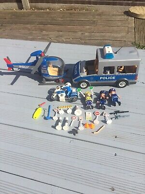 Playmobil Police Set Car Bike And Helicopter With Figures And Extras • 0.99£
