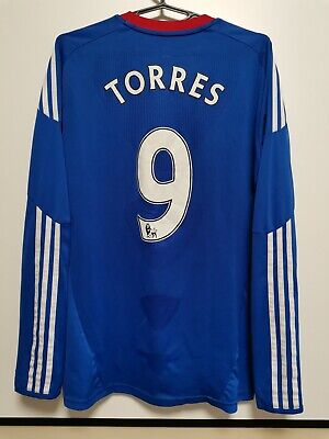 Size M Chelsea 2010-2011 Home Football Long Sleeve Shirt Jersey Torres #9 • 50£