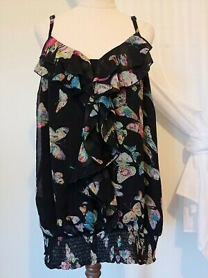 AU11.50 • Buy Women's Size S 'City Chic' Black Sleeveless Top With Butterflies And Ruffle