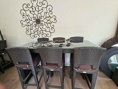 AU499 • Buy Outdoor Dining Set 9 Piece Poly Rattan Brown Furniture  Table Has Glass