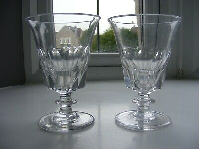 Pair Of Very Large Victorian Panel Cut Glass Rummer Glasses - 5 3/4 Inches • 19.50£