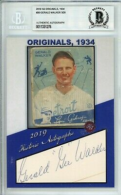 $39.99 • Buy 2019 HA Originals Gerald Walker Autograph 1934 Goudey Card Beckett 3/20