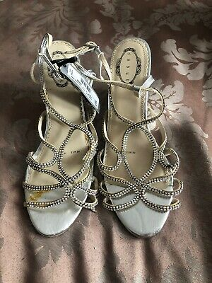 Ladies Debut Wedged Heels Silver Sparkle Diamond Shoes Size 6 • 5£