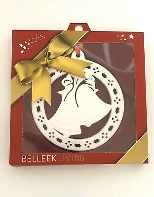 Belleek Living Pottery Christmas Tree Decoration Bells Ornament White Red New • 4.50£