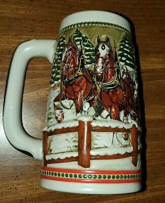 $ CDN33.38 • Buy Vintage 1984 Budweiser Clydesdale Holiday,  Covered Bridge St. Louis Beer Stein