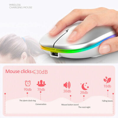 AU16.99 • Buy Slim Rechargeable Wireless Gaming Mouse 2.4GHz Optical 1600 DPI For Laptop PC