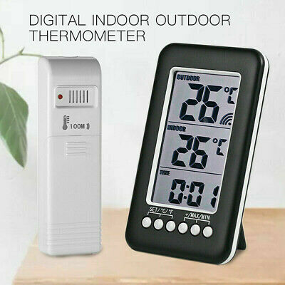 $13.59 • Buy Digital Indoor Outdoor Thermometer Clock Temperature Meter Wireless Transmitter