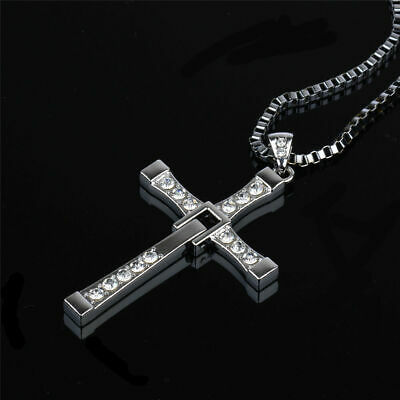 £4.95 • Buy Mens Silver Cross Chain Necklace Pendant Bling Jewellery Uk