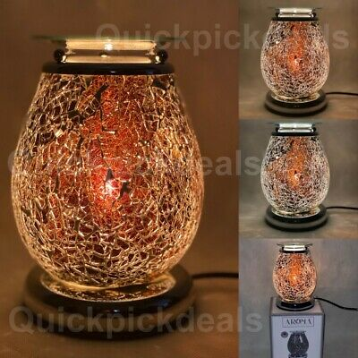 Juno Black Mosaic Electric Wax Melt Burner Aroma 3D Lamp Pattern Touch GIFT • 24.99£