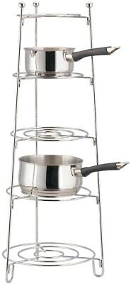 HEAVY DUTY Premium Chrome Plated 5 Tier Pots And Pan Stand  Saucepan • 22.99£