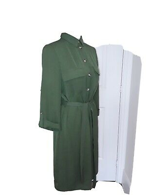 F & F Khaki Button-up Shirt Dress With Turn-up Sleeves And Belt • 10£