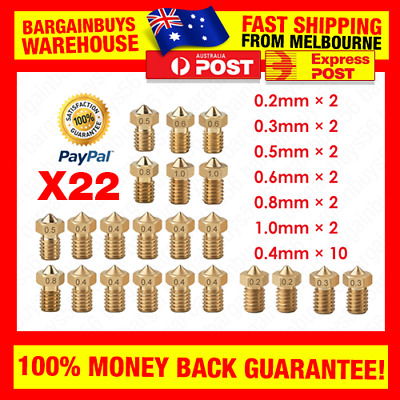 AU22.49 • Buy 22pcs Nozzle Head Printer Extruder A8 Makerbot MK8 Creality CR-10 Ender 3