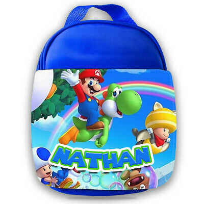 Personalised Mario Kids Blue Lunch Bag Any Name Children School Snack Box 9 • 14.99£