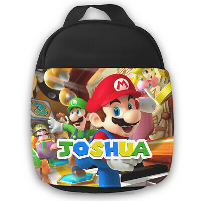 Personalised Mario Kids Black Lunch Bag Any Name Children School Snack Box 21 • 14.99£