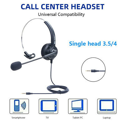 3.5mm Wired Over Ear Computer Headset Headphones For Call Center PC Laptop Skype • 9.99£