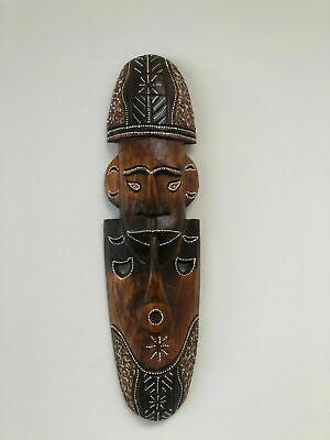 TIKI Mask Wooden Wall Plaque 50cm Handmade Maori Tribal Art Man Cave Bar Pipe • 16.99£