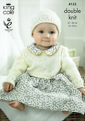 King Cole Knitting Pattern 4153 Baby Cropped Cardigans,cropped Top & Hat • 2.10£