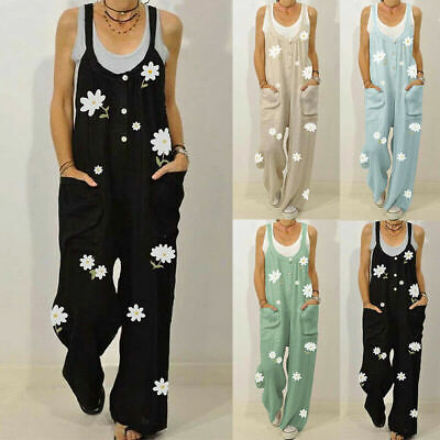 Women Summer Floral Dungarees Ladies Casual Overalls Playsuit Jumpsuit Plus Size • 13.94£