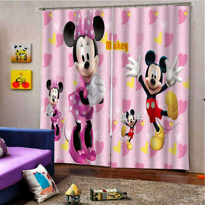 Pink Butterfly Knot Mickey Mouse Printing 3D Blockout Curtains Fabric Window • 42.41£