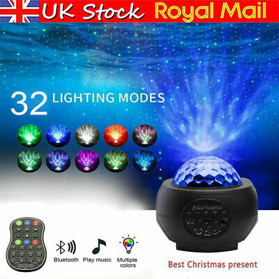 UK Galaxy Star Night Lamp LED Starry Night Light Ocean Wave Projector With Music • 19.75£