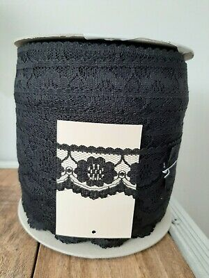 Black Flat Lace 4cm   200m Roll • 29£