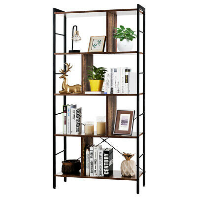 Wooden Retro Bookcase Bookshelf Storage Cabinet Display Stand Shelving Two Doors • 69.99£