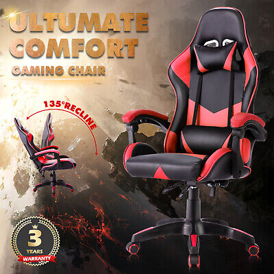 AU137.90 • Buy Gaming Chair Computer Executive Office Racer Recliner Seat Racing PU Leather Red