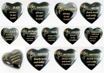 Memorial Small Black & Gold Lily Heart Stone Plaques Graveside Funeral Keepsake • 4.99£