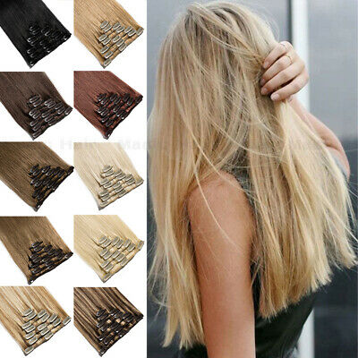SOFT Russian Remy 8PCS Clip In Real Human Hair Extensions Highlight Weft UK Q190 • 44.79£
