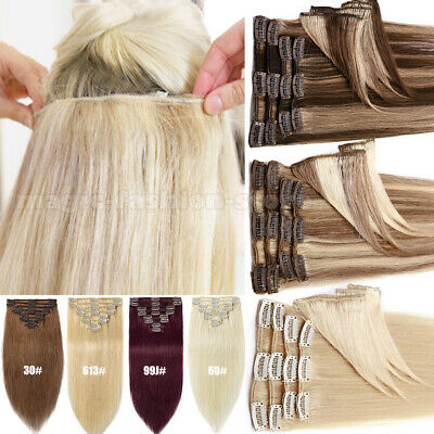 CLEARANCE Clip In Russian Real Human Hair Extensions Half Full Head Blonde Q334 • 27.38£